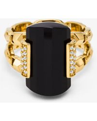 Michael Kors - 14k Gold-plated Sterling Silver Onyx Cocktail Ring - Lyst