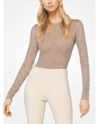 Michael Kors - Embroidered Stretch-tulle Bodysuit - Lyst