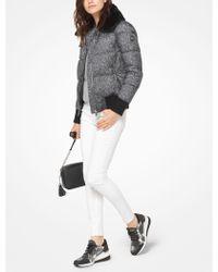 Michael Kors - Fur-trimmed Tweed-print Jacket - Lyst