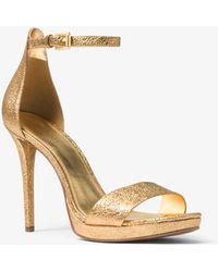 Michael Kors - Hutton Metallic Leather Sandal - Lyst