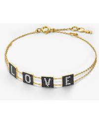 Michael Kors - Pulsera Love de plata de ley con chapado en oro de 14 K e incrustaciones - Lyst