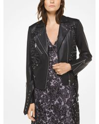 Michael Kors - Embroidered Leather Moto Jacket - Lyst