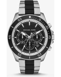Michael Kors - Theroux Silver-tone And Silicone Watch - Lyst