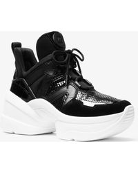 Michael Kors - Olympia Leather Mixed-media Trainer - Lyst