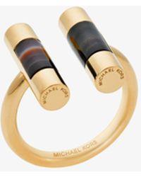 Michael Kors - Gold-tone Black Agate Split-barrel Ring - Lyst