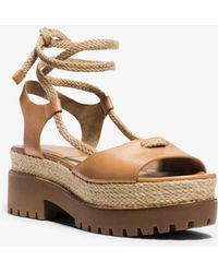Michael Kors - Kirstie Runway Leather And Jute Sandal - Lyst