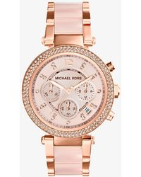 Michael Kors - Mid-size Rose Golden Stainless Steel Parker Chronograph Glitz Watch - Lyst