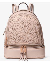 Michael Kors - Rhea Medium Rose Studded Leather Backpack - Lyst