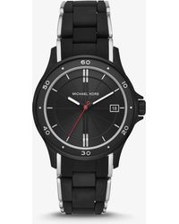 Michael Kors - Reid Black-tone And Silicone Watch - Lyst