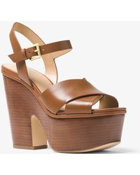 Michael Kors - Divia Leather Platform Sandal - Lyst
