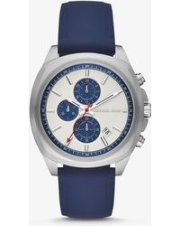 Michael Kors - Bryson Silver-tone And Silicone Watch - Lyst