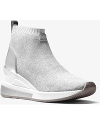 Michael Kors - Skyler Metallic Stretch-knit Sock Sneaker - Lyst