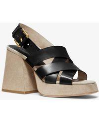 7c3c4c993ff40 Michael Kors - Estella Calf Leather Platform Sandal - Lyst