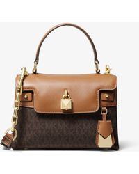 5aedfef77e0022 Lyst - Michael Kors Jaryn Medium Leather Tote in Red