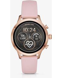 Michael Kors - Reloj inteligente Runway en tono dorado rosa de silicona - Lyst
