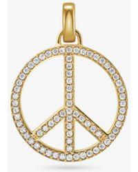 Michael Kors - Gold-tone Sterling Silver Large Pavé Peace Charm - Lyst