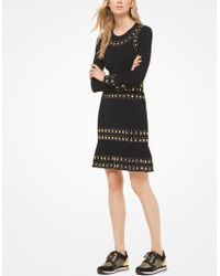 9a22b3c1d0c Lyst - MICHAEL Michael Kors Sleeveless Crochet Sweater Dress in Black