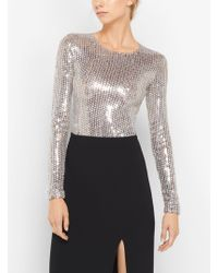 Michael Kors - Sequin-embroidered Stretch-tulle Bodysuit - Lyst