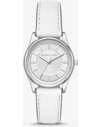d40f8929d5cd Michael Kors - Colette Silver-tone And Leather Watch - Lyst