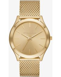 Michael Kors - Slim Runway Mesh Gold-tone Watch - Lyst