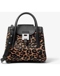 Michael Kors Bancroft Mini Leopard Calf Hair Satchel - Brown