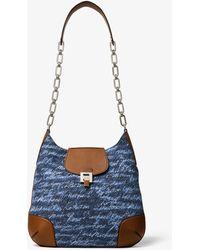 Michael Kors Bancroft Oversized Signature Print Denim Shoulder Bag - Blue