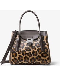 1543aa7b50ac4b Michael Kors - Bancroft Medium Leopard And Houndstooth Satchel - Lyst