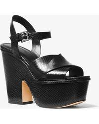Michael Kors - Divia Snake-embossed Leather Platform Sandal - Lyst