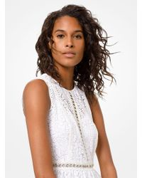 Michael Kors Grommeted Floral Lace Dress - White