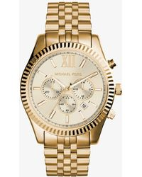 Michael Kors - Lexington Gold-tone Watch - Lyst