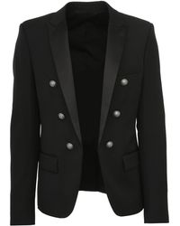 Balmain - Black Open Blazer In Wool With Satin Lapels And Silver Metal Logoed Buttons. - Lyst