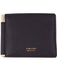 Tom Ford Portafogli nero T Line in pelle con clip portamonete, logo frontale stampato in oro