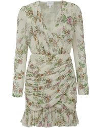 Giambattista Valli - White Dress In Pure Silk With All Over Floral Motif And Draperies - Lyst