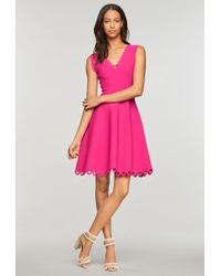 MILLY - Eyelet Scallop Flare Dress - Lyst