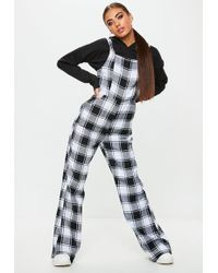 Missguided - Black Check Dungaree Jumpsuit - Lyst