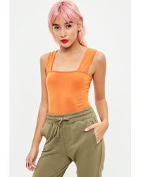 Missguided - Orange Square Neck Thick Strap Bodysuit - Lyst
