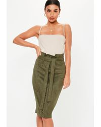 Missguided - Khaki Faux Suede Button Front Paperbag Skirt - Lyst