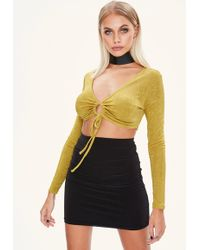 Missguided - Yellow Gathered Front Crop Top - Lyst