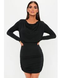 ca388e952 Missguided Dawn Faux Leather Contrast Halterneck Dress Black in ...
