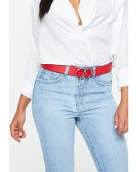 Missguided - Red Double Circle Belt - Lyst