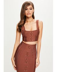 Missguided - Peace + Love Brown Strappy Bandage Bralette - Lyst