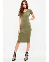 Missguided - Khaki Ribbed Midi Dress - Lyst