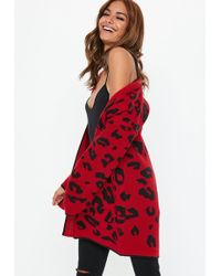 Missguided - Red Animal Print Cardigan - Lyst