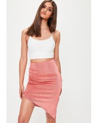 Missguided - Pink Slinky Ruched Side Midi Skirt - Lyst