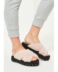 a130bcbf3e79e2 Missguided - Pink Faux Fur Cross Strap Studded Sliders - Lyst