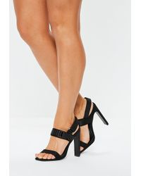 2043217c037 Lyst - Missguided Strappy Lace Up Heeled Sandals Black in Black