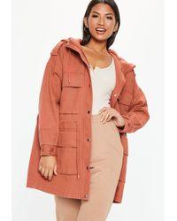 02ac3e891a6 Lyst - Missguided Khaki Camo Ruched Sleeve Parka Jacket
