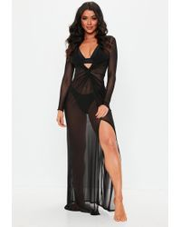 Missguided - Black Sheer Thigh Split Maxi Cover Up - Lyst