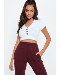 e58f5db61bd Missguided Lynne Ribbed High Neck Crop Top White in White - Lyst