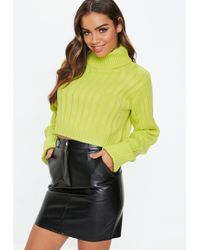 Missguided - Lime Roll Neck Turnback Cuff Jumper - Lyst